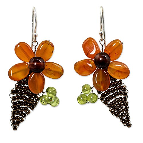 NOVICA Multi-Gem Carnelian .925 Sterling Silver Glass Beaded Earrings 'Thai Petals'