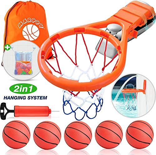 Bath Toy Basketball Hoop for Kids & 5 Balls Playset - Bathtub Basketball Hoop for Boys & Girls - Bathroom Toys Games & Bath Toys Fun for Toddlers + Bath Toy Organizer Storage with Strong Suction Cup