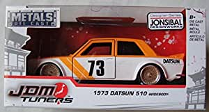 JADA JDM TUNERS 1:32 SCALE ORANGE AND WHITE 1973 DATSUN 510 WIDEBODY DIE-CAST