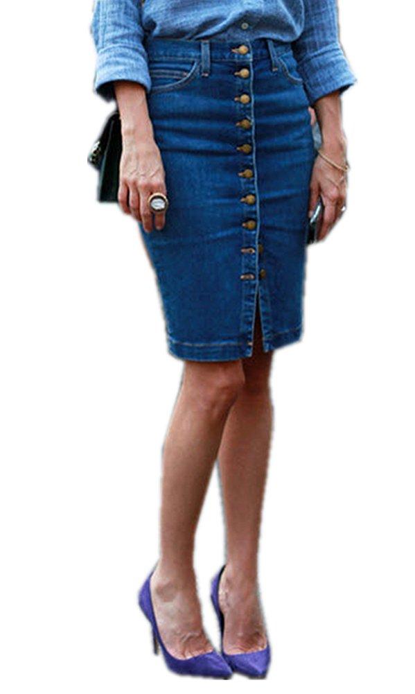 TENGFU Women's Classic Button Front Boycon Casual High Waist Stretch Midi Denim Skirt Blue