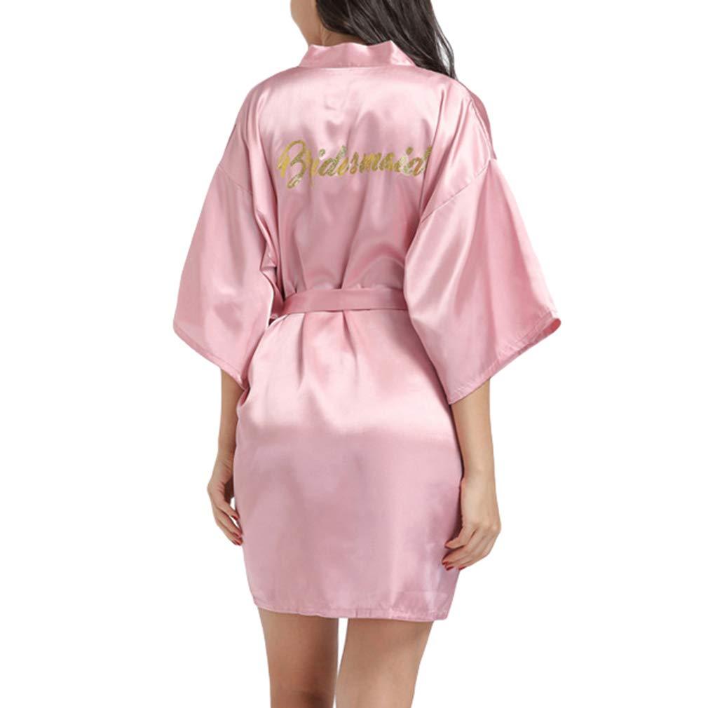 Yying Satin Kimono Wedding Party Preparativi Robe con Glitter Oro Donne Abiti da Damigella dOnore con Glitter Oro per la Festa di Nozze