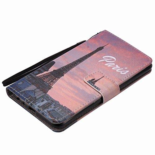 Yiizy LG Stylo 2 LS775 Funda, Torre Eiffel Diseño Solapa Flip Billetera Carcasa Tapa Estuches Premium PU Cuero Cover Cáscara Bumper Protector Slim Piel Shell Case Stand Ranura para Tarjetas Estilo