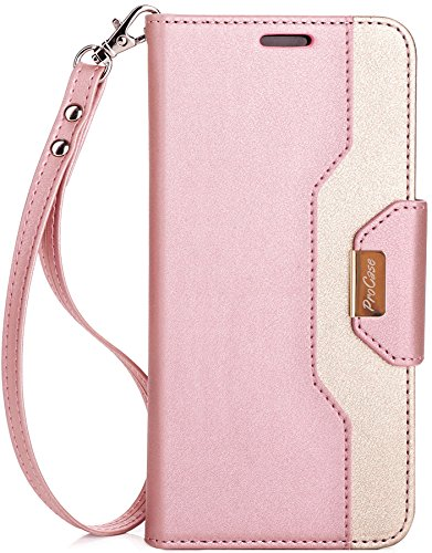 ProCase Galaxy S8 Wallet Case, Flip Kickstand Case with Card Slots Mirror Wristlet, Folding Stand Protective Cover for Samsung Galaxy S8 2017 -Pink