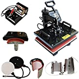 Combo Heat Press 12X15IN 8IN1 Machine for HTV(Heat Transfer Vinyl) Transfer and Sublimation on T-Shirts Mugs Plates Hats caps Pillowcases Bags ,etc