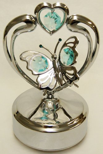 Chrome Butterfly in Heart Music Box - Green Swarovski Crystal ()