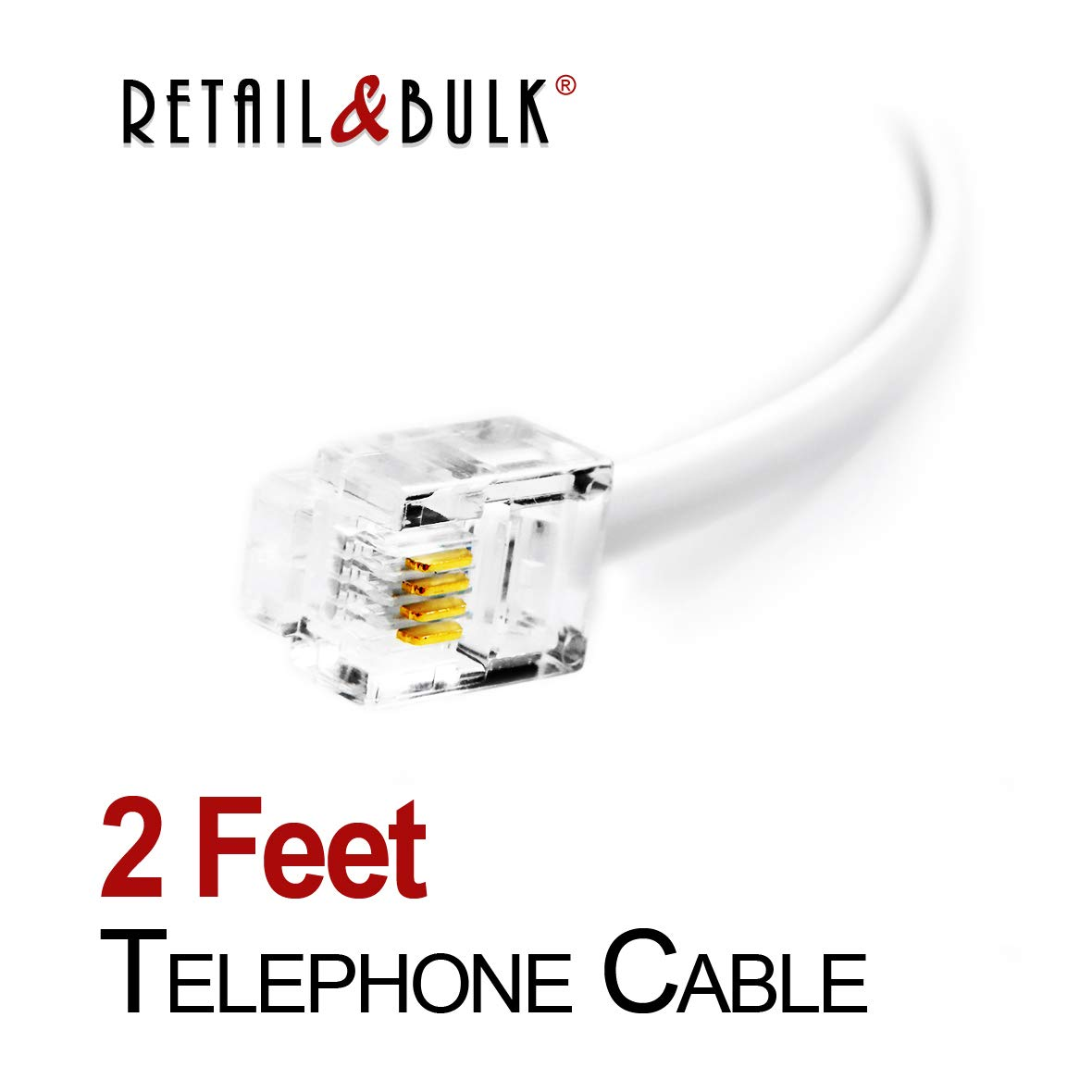 12 Inch Premium Quality Telephone Cable, RJ11 Male to Male 6P4C Phone Line Cord. Made in USA by Retail&Bulk (White) RetailAndBulk
