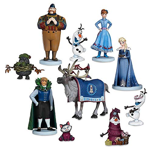Olaf's Frozen Adventure Deluxe Toys Figures 10 Piece Set Collectible Cake Toppers Decorations + Bonus Assorted STICKERS ()