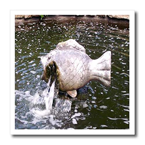 3dRose Big Little, Cute Bronze Fish Fountain spews Water into a Small Garden Pond-Iron On Heat Transfer, 8 by 8-inch, for White Material (ht_127581_1) ()