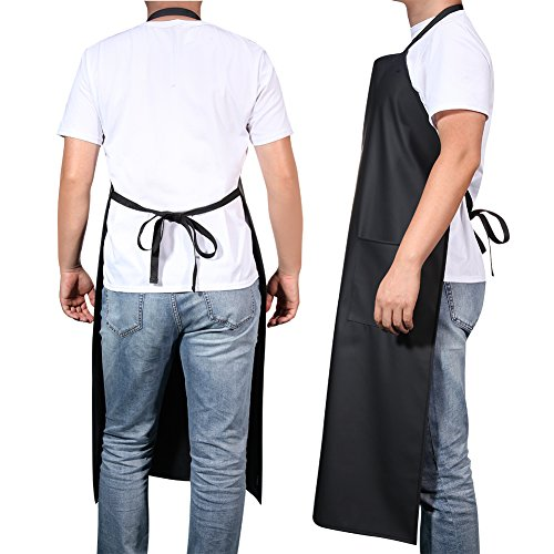 Adjustable Bib Waterproof Apron with 2 Pockets,Long Cooking Aprons for Men Women Chef, Black Commercial Restaurant and Home Kitchen Apron By VWELL by VWELL (Image #1)