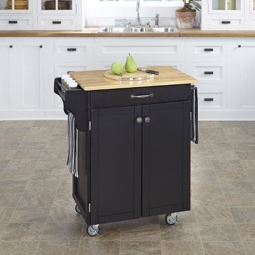 Home Styles 9001-0041 Create-a-Cart 9001 Series Cuisine Cart with Natural Wood Top, Black, 32-1/2-Inch - Black Natural Kitchen Island