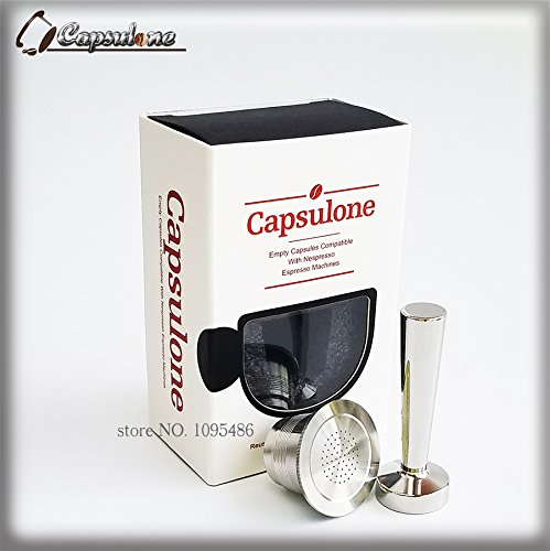Capsulone/STAINLESS STEEL Metal capsule compatible for nespresso coffee Machine Refillable Reusableand coffee capsule and tamper