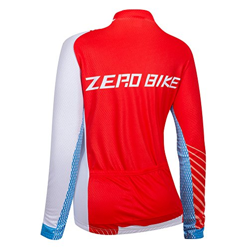 ZEROBIKE Womens Long Sleeve Cycling Jersey Outdoor Sports Slim Fit Full Zip Breathable and Quick Dry