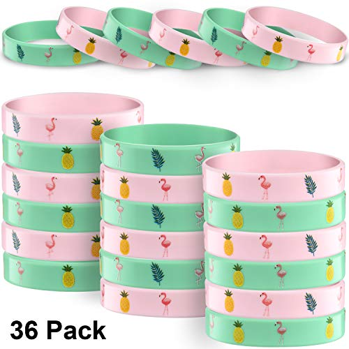 36 Pieces Hawaiian Themed Silicone Bracelets Rubber Wristbands Pineapple Flamingo Palm Leaves Pattern Bracelet for Summer Tropical Party Favors