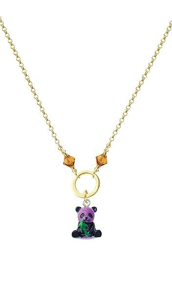 Delight Jewelry Resin Panda Bear Goldtone Eternity Circle Necklace 20
