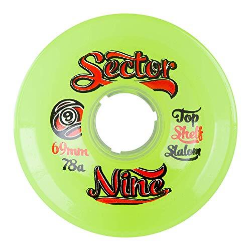 Sector 9 Top Shelf Nine Balls Skateboard Wheel, Yellow/Green, 69mm 78A