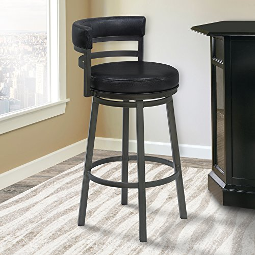 Armen Living LCMABAMFBL26 Madrid 26' Counter Height Swivel Barstool in Ford Black Faux Leather and Mineral Finish