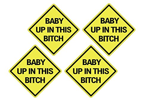 Rogue River Tactical 4X Baby Up in This Bitch Sticker Funny Auto Decal Bumper Vehicle Safety Sticker Sign for Car Truck SUV