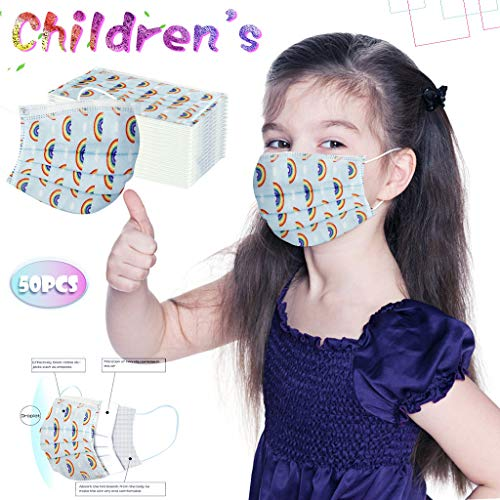 Face Bandanas with Cute non-woven Covering Breathable and Anti-Haze Dust, for Kids, Dinosaur Print Disposable Face Guard, Anti Pollution Dust Free Mouth Protectives