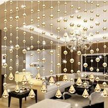 Namivad Crystal Beads Silk String Curtain Tassel Window Door Divider Sheer Valance Windows Panel Curtains (Gold)