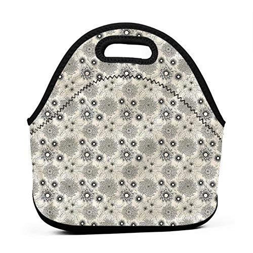 Large Size Reusable Lunch Handbag Dahlia,Vintage Garden Design,monogram lunch bag for kids