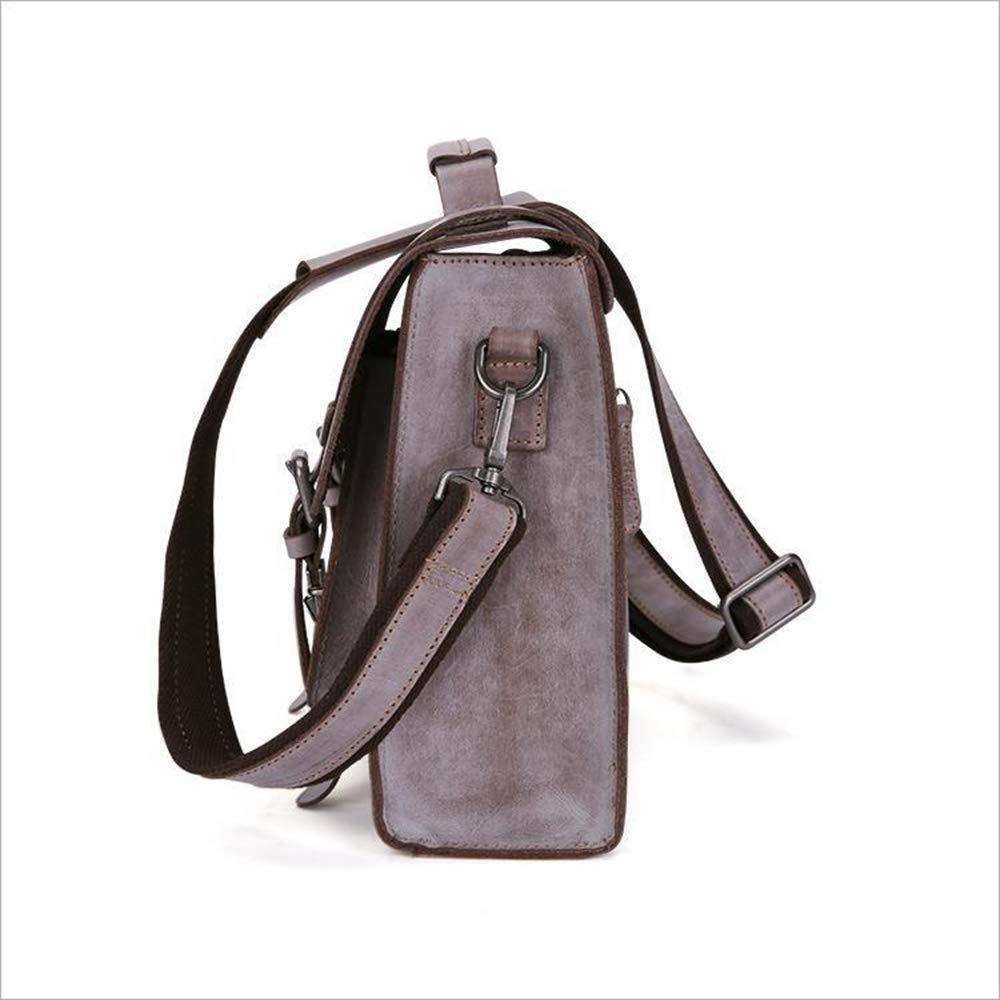 Black//Brown XFRJYKJ- Mens briefcase Mens Handbag Retro Business Briefcase Shoulder Crossbody Bag 33x26x10cm Color : Black