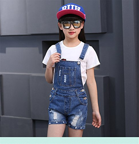 Big Girl's Denim Jumpsuit Boyfriend Jeans Cool Fashion Denim Romper Shortalls 12 Blue by Luodemiss (Image #3)
