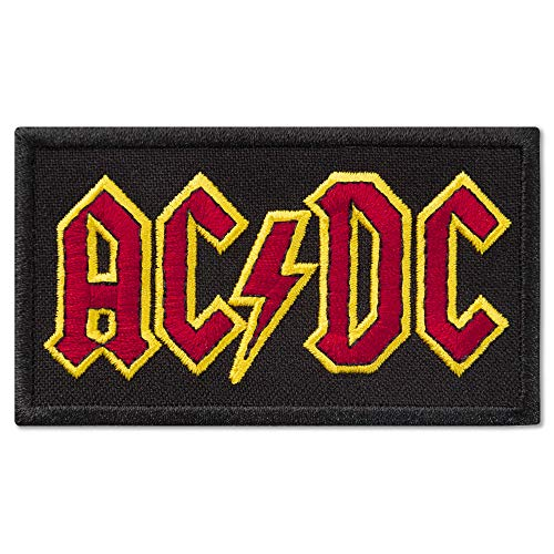 (AC/DC Red and Yellow Logo Music Rock Band Embroidered Patch Iron On (3.4