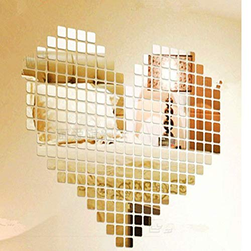 Billion Deals Acrylic Mirror Wall Stickers Decal Square Mosaic Room Wall Sticker for Kids Rooms Home Decoration 100Pcs 22CM ()