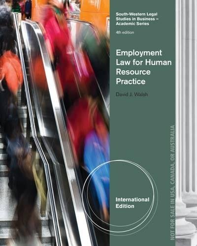 Employment Law for Human Resource Practice, International Edition