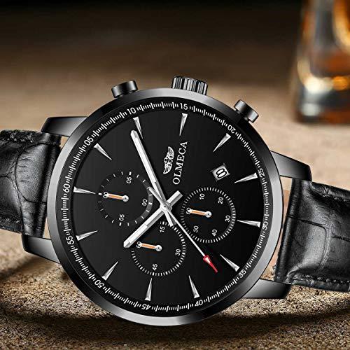 OLMECA Mens Unique Business Watches Japanese Quartz Germanium Health Wrist Watch 5ATM Waterproof Black Color 3006-QHYDpd