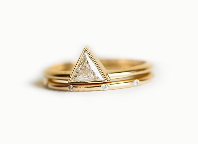 Trillion Diamond Enement Ring | Amazon Com Trillion Diamond Wedding Set With Dainty Diamond