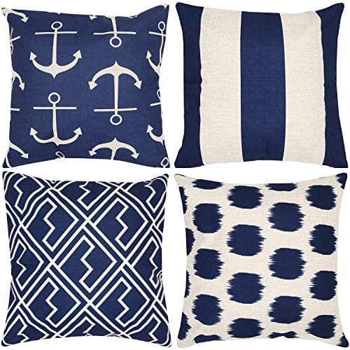 Munzong Decorative Navy Blue Nautical Anchors Beige Background Throw Pillow Covers 18 x 18 Inch Set of 4, Geometric Stripe Dots Shakes Cotton Linen Outdoor Cushion Cover Square Pillowcase Home Decor (Outdoor Pillow Stripe Navy)