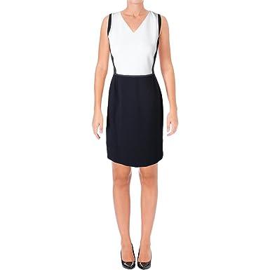 213d63542 Hugo Boss Womens Demida Colorblock Sheath Wear to Work Dress Navy 6 at  Amazon Women's Clothing store: