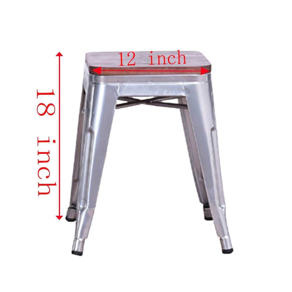 DeKea 18 Inch Metal Stool Backless with Wooden Top Seat Dining Chair Set of 4 for Kitchen or Indoor Outdoor Barstools, Silver