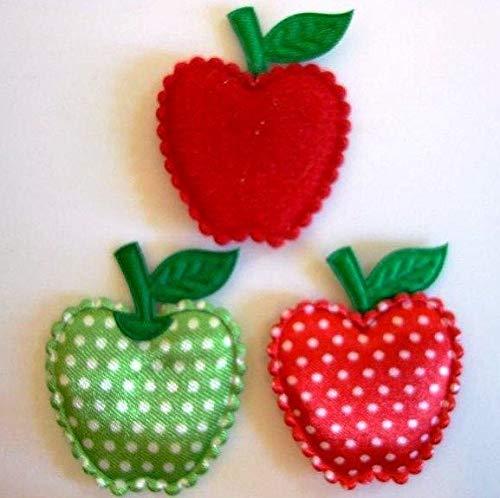 60 Red & Green 1.25 Apple Felt Fabric Applique/Satin Dot/Craft/Sewing/Trim #ID-746