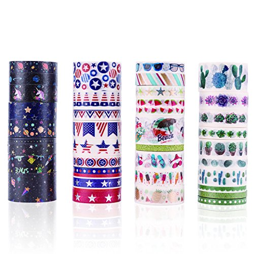 EONCHIC 36 Roll Washi Tape Set, Masking Adhesive Tapes for Decorative Craft, Scrapbooking. -