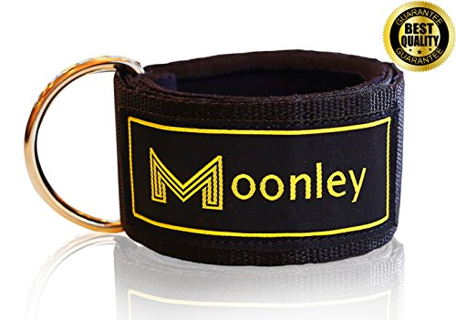 THE BEST ANKLE STRAPS BAND BY MOONLEY - Black, Comfort, Adjustable, Strong Velcro, Resistant Neoprene Paddle Ankle Leg Cuffs for Gym Cable Machine. Enhance Butt & Leg Workout – Men & Women