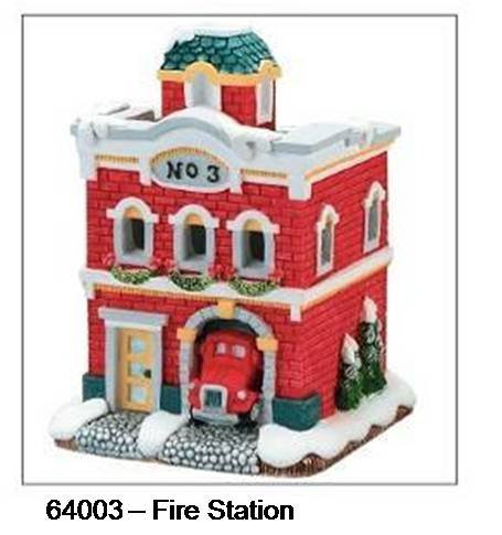 (Houses fire station UNPAINTED plastercraft no fire 5.25
