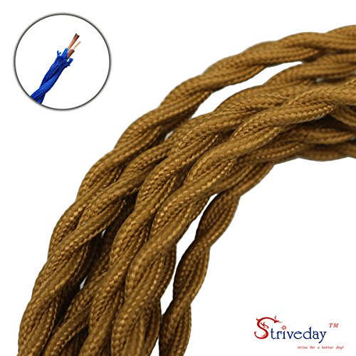 Striveday™ 5Meter/16.4FT Twisted Cloth Fabric Electrical Cord for Vintage and Antique Lamps DIY, Rayon Covered Wire For Industrial Vintage LED Bulb(Bronze)