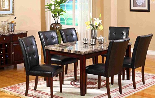 Mega Furnishing Home Kitchen Dining Bar table (false marble) with aristocratic leather bar chair 7PC