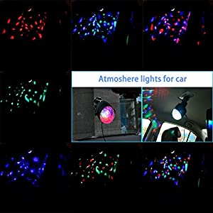 WOWTOU Remote Mini Disco Ball Lights, 3-Mode Sound Activated Strobe Effect and 7-Pattern Rotating RGB LED Party Light Show for Dance Floor Night Club DJ Stage Lighting, USB Powered (Black)