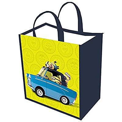 Unisex-Adult Minions Reusable Shopping Tote Or Halloween Trick Or Treat Bag - Set Of 3 High Five, Car, Close Up