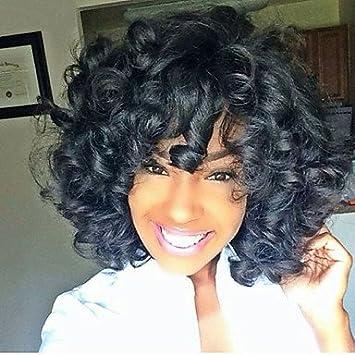 FT largas pelucas baratas rizadas sintéticas medias negras para las mujeres negras ombre de usar el