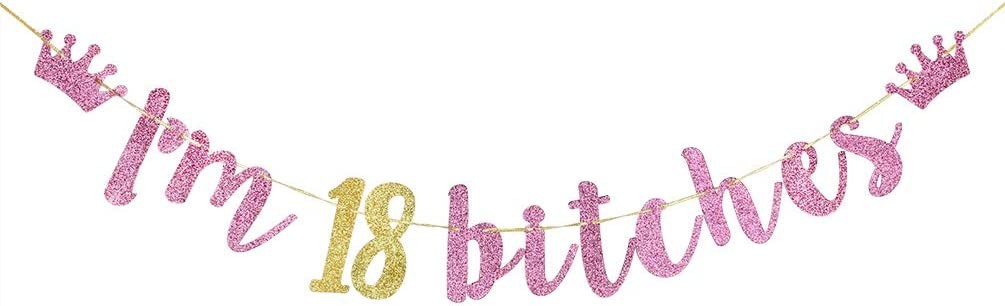 Happy 30th Birthday Glitter Letter Banner Sign Gold Magenta Pink