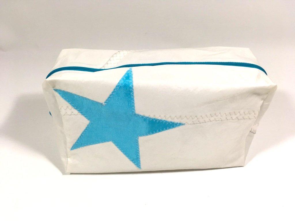 Segeltuch Kulturtasche mit türkisen Stern groß
