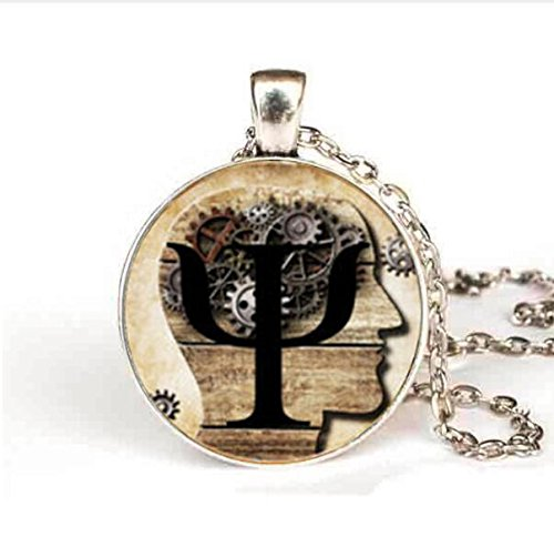 New Steampunk PSI Symbol Necklace Psychology Pendant Glass Dome Pendant for women jewelry mens gift Chain vintage antique ()