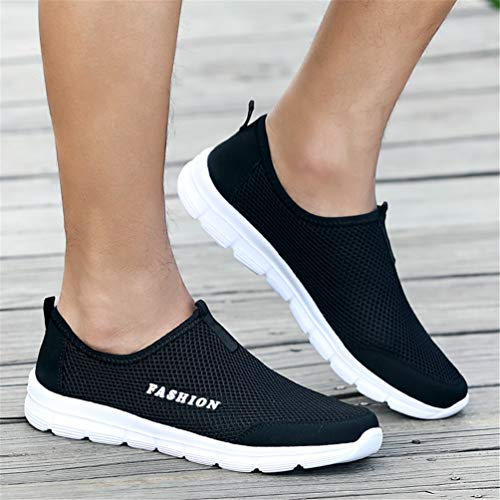 Mocasines Planos Hombre Slip Zapatos Malla Negro Casuales On De Transpirable 8PUxqnAwg
