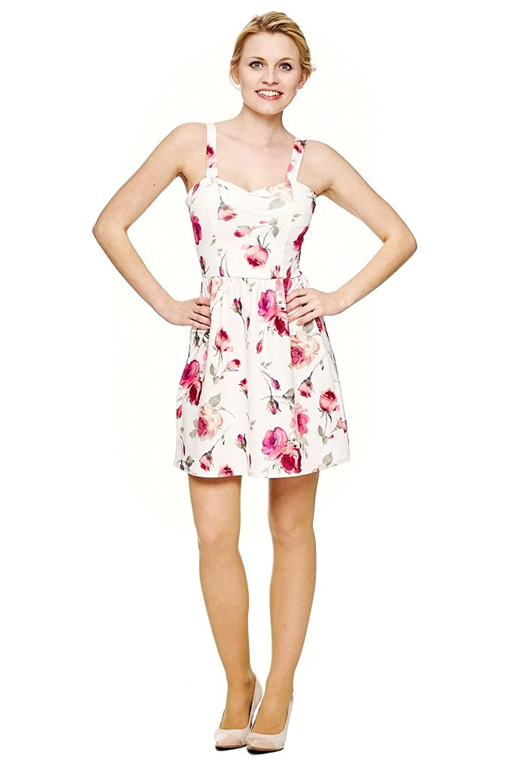 Damen Sommerkleid mit Blumen skater dress mini kleid Damen ...