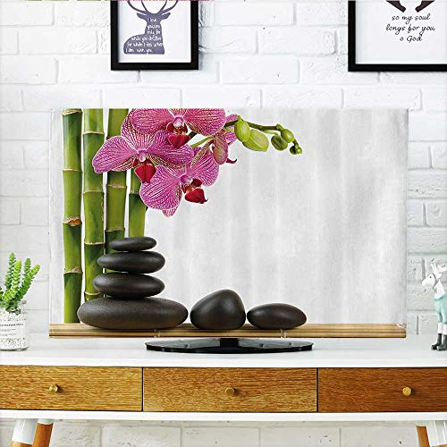 - L-QN tv dust Cover Pink Orchid with Bamboos and Black Hot Ste Massage Bathroom Dust Resistant Television Protector W32 x H51 INCH/TV 55
