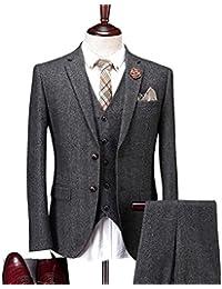 Solid Charcoal Classic Vintage Tweed Herringbone Wool Blend Tailored Men Suit 3 Pieces